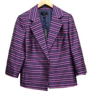 Talbots Navy Blue Pink Stripe Silk Blazer Jacket